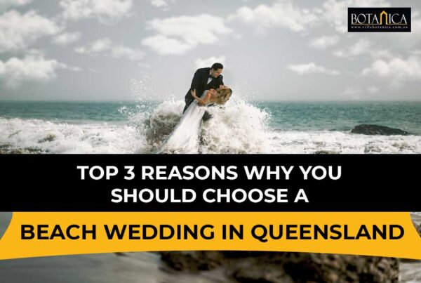 "banner image of newly-wedded couple pictorial at the beach with a banner text ""Top 3 Reasons Why You Should Choose a Beach Wedding Queensland"""""