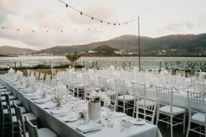 table layout of an outdoor wedding reception