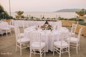 Outdoor Wedding Reception with a panorama view of Whitsunday Islands