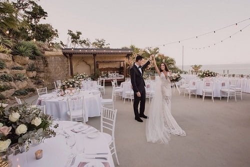 newly wedded couple enjoyed Magical moments are made on the Villa Botanica Sea Deck - Garden Wedding Reception